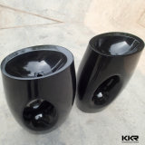 Kkr Wholesale Shiny Black Stone Resin Pedestal Wash Basin (B1706062)