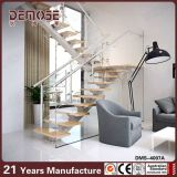 錬鉄のまっすぐなステアケースの木のまっすぐな階段(DMS-4001)