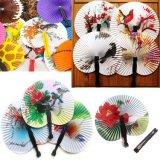 Minifalz-chinesisches Papier-Ventilator-Weinlese-orientalischer faltender Ventilator mit traditionellen chinesischer Farbanstrich-Vögeln