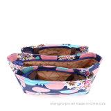 2つのハンドルとのピクニックのためのキャンバスの女性ハンド・バッグ