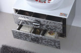 Steel inoxidable Silver sur Floor Modern Bathroom Mirrored Cabinet (JN-88852)