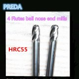 60HRC Nano Coated 4 Flutes Ball Nose Estremità Mills