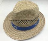 Corona Nature Straw Fedoea Hats con l'unità di elaborazione Ribbon (CPA_60232)