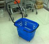 Panier à provisions en plastique de roulement de supermarché de prix usine de Suzhou Yuanda grand avec le long traitement