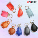 Em4305 falso Keyfobs de couro/Keyring para o sistema de seguimento de RFID