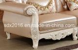 Salón Sofá / Madera Sofá / sofá de estilo europeo / clásico Sofá / Media-sofá de cuero Sq020