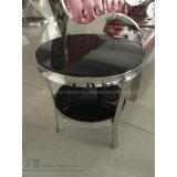 Tavolino da salotto domestico del vetro temperato del nero del blocco per grafici del metallo (HW-005T)