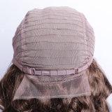 Peluca de la densidad del 130% Peluca peruana del pelo de la Virgen de Remy de la peluca medio de la máquina hecha y media mano atada peluca delantera del pelo humano