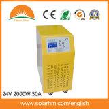 (X9-T20224-50) inverseur solaire pur de basse fréquence d'onde sinusoïdale 24V2000W50A Construire-dans le contrôleur