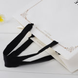 Изготовленный на заказ Printing White Card Paper Bag с Black Ribbon Handle