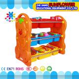 おもちゃラック、おもちゃの記憶ラック、プラスチックの箱が付いているおもちゃの棚