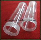 Tube transparent de quartz de silice de vis de les deux extrémités avec la couverture