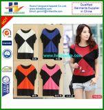 Les filles court- le T-shirt modal de collet de chemise de couleur ronde de contraste