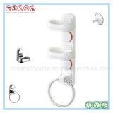 Sostenedor cuadrado oval doble de la bandeja del plato de jabón de la ducha del cuarto de baño con el anillo de toalla
