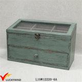 Огорченная зеленая затрапезная шикарная коробка Jewellery с отсеками