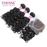 Lockige peruanische Haar-Bündel mit Schliessen