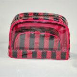 PVC cosmétique promotionnel fait sur commande de sac avec le sac de produit de beauté de satin
