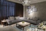 L sofà del tessuto del salone di figura con il tavolino da salotto quadrato (LST-002)