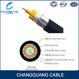 Câble de fibre optique de Gja d'approvisionnement d'usine échoué avec la force Menber de FRP et la jupe de PE