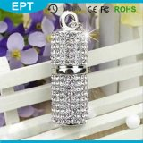 Promocional OEM Tin Cylinder Shape Crystal jewelery USB Memory Drives