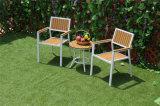 Cadeira e mesa de jardim de madeira de plástico de aparência moderna