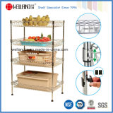 Nylon Wheels를 가진 DIY Chrome Kitchen Metal Wire Basket Trolley Rack