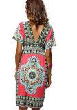 Сексуальная глубокая V-Шея плюс платье размера напечатанное пляжем (50117-1)