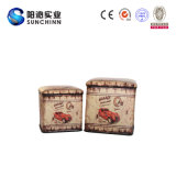 Taburete de madera cuadrado del almacenaje de la PU para el uso de la familia