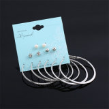 6pairs / Set Punk Crystal Pearl Stud Earrings Set para Mulher Costume Jóias Earrings Set