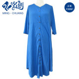 Повелительницы способа голубого Высок-Шкафута кнопки V-Шеи тонкие длиной одевают