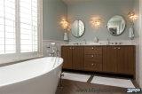 Vaidade do banheiro do dissipador dobro do Woodgrain do PVC do estilo da corte