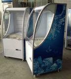 Refrigerador aberto do vidro da curva