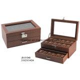 Caixa de Relógio da Embalagem do Couro do Indicador de Brown/caso Handmade Luxuosos com Indicador 2xlayers