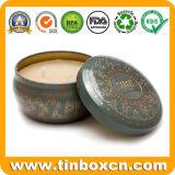 Het ronde Dagelijkse Blik van het Tin, de Doos van de Gift, de Kaars van het Tin van het Metaal kan
