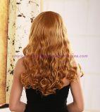 강타를 가진 긴 꼬부라진 합성 머리 가발