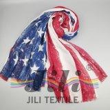 Distintivo de la bandera americana Nación la impresión del modelo de la bufanda Sobre la base de gasa