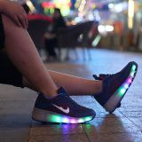 Nuevo molde manera de las señoras de la PU superior del top del alto LED Sport Patines Zapatos