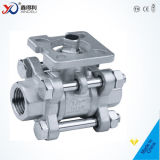 robinet à tournant sphérique de 3PC Bsp 3000wog avec verrouiller le dispositif