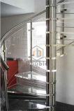 Escalera espiral de acero 304 con las pisadas de madera/de cristal