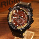 334 het Unisex-Polshorloge van de Sport van het Horloge van de Manier van de Mensen van het Kwarts van de Band van het Leer Yazole