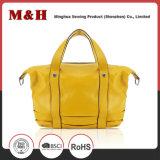 큰 수용량 휴대용 노란 운반물 쇼핑 여자 가죽 핸드백