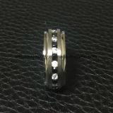 Ring Van uitstekende kwaliteit van Jewellry van het Titanium van de Stenen van de Juwelen van Shineme de Zwarte en Duidelijke (TR1858)