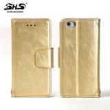 Caixa de couro do telefone móvel do plutônio do estilo retro e simples do fólio da carteira para o iPhone 7 positivo
