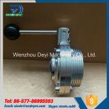 Válvula de mariposa manual de la autógena de la cuerda de rosca masculina del saneamiento del acero inoxidable Ss304