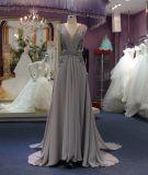 Новое прибытие линия серое платье партии вечера выпускного вечера