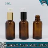 30ml Bouteille de bouteille de verre ambarin avec pulvérisateur de pompe à aluminium noir