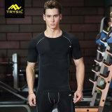 Camisa de deporte de secado rápido de la compresión de los hombres con Mesn