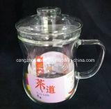Copo de chá de vidro da parede dobro do Borosilicate com tampa