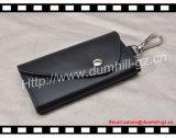 Bolso genuino negro del clave del cuero del zurriago con 6 encadenamientos dominantes adentro