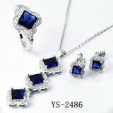 Комплект ювелирных изделий диаманта CZ голубого сапфира стерлингового серебра установленный